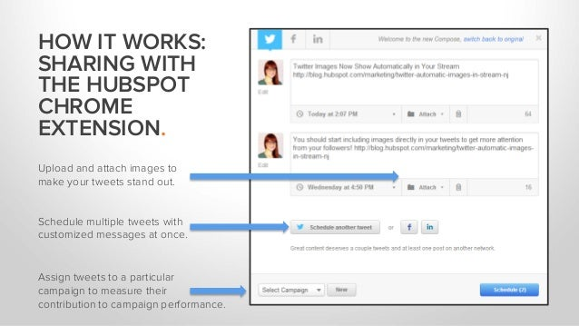 HOW IT WORKS: SHARING WITH THE HUBSPOT CHROME EXTENSION. Upload and attach images to make your tweets stand out. Schedule ...