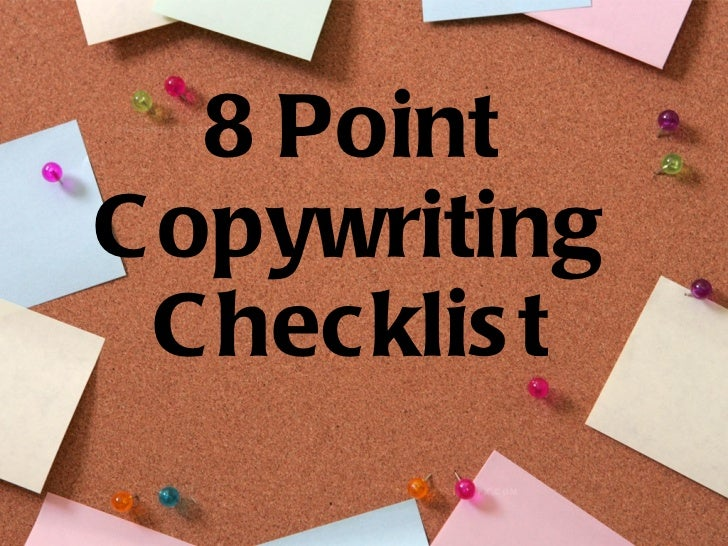 8 Point Copywriting Checklist