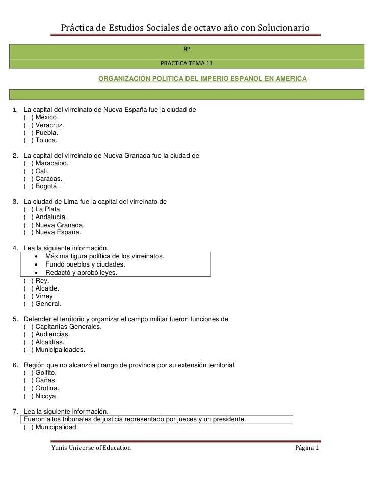 Práctica de Estudios Sociales de octavo año con Solucionario                                                          8º  ...