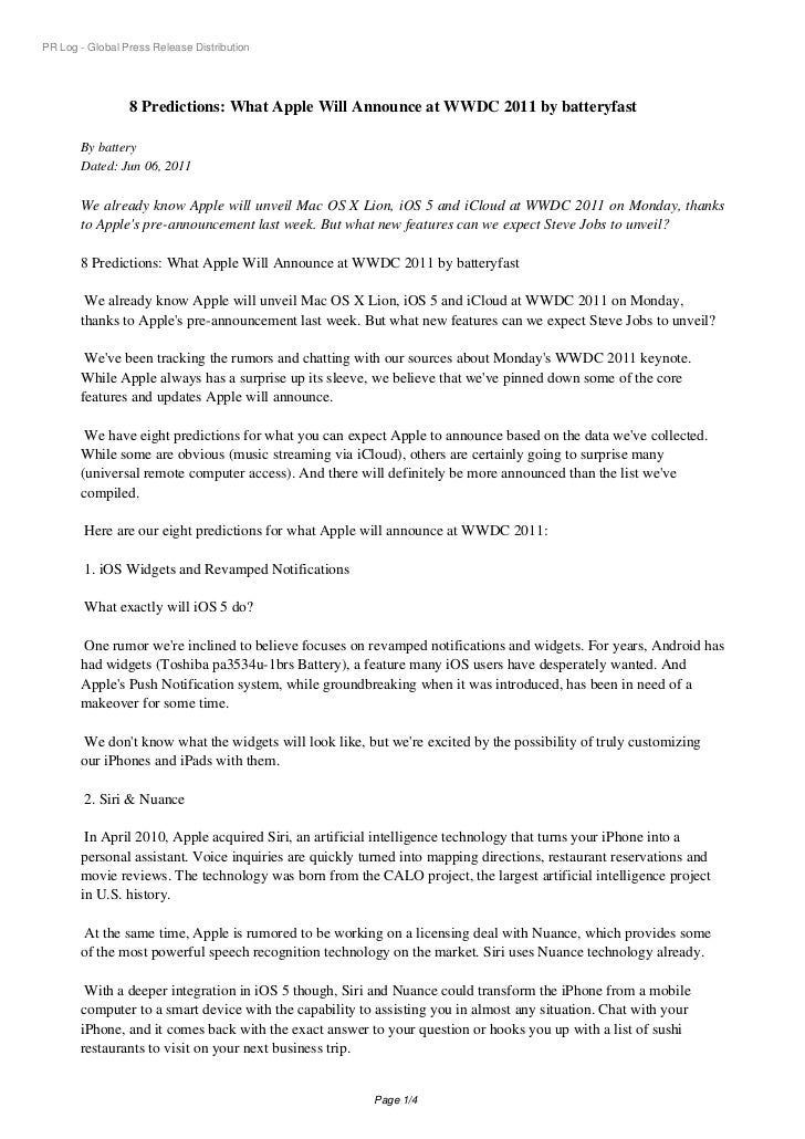 PR Log - Global Press Release Distribution                 8 Predictions: What Apple Will Announce at WWDC 2011 by battery...