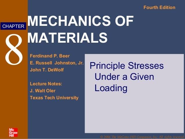 MECHANICS OF MATERIALS Fourth Edition Ferdinand P. Beer E. Russell Johnston, Jr. John T. DeWolf Lecture Notes: J. Walt Ole...