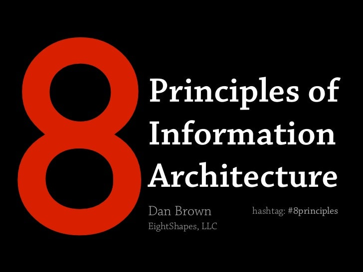 8 Principles of Information Architecture Dan Brown EightShapes, LLC                    hashtag: #8principles