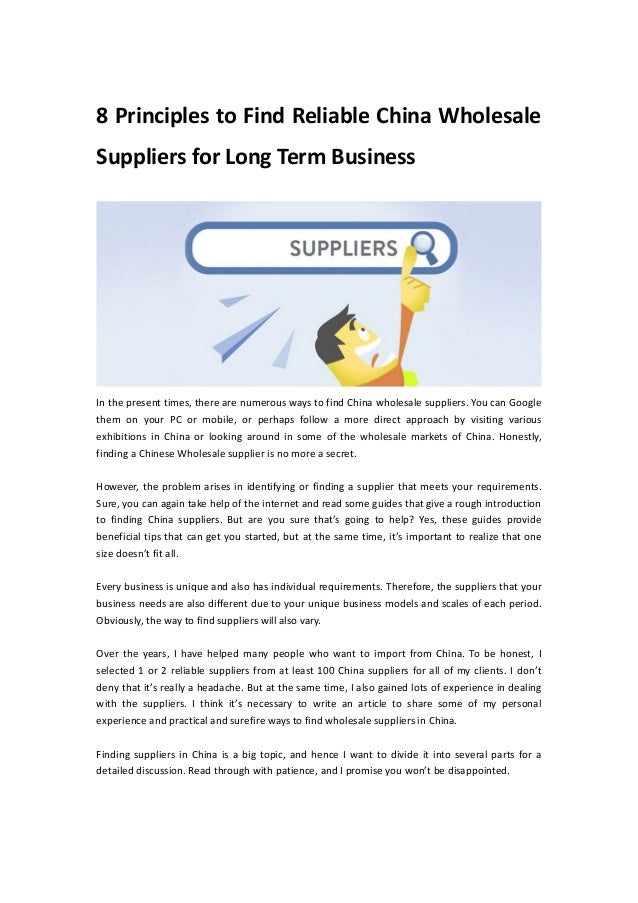 8 Principles To Find Reliable China Wholesale Suppliers For Long Term Business In The Present Times