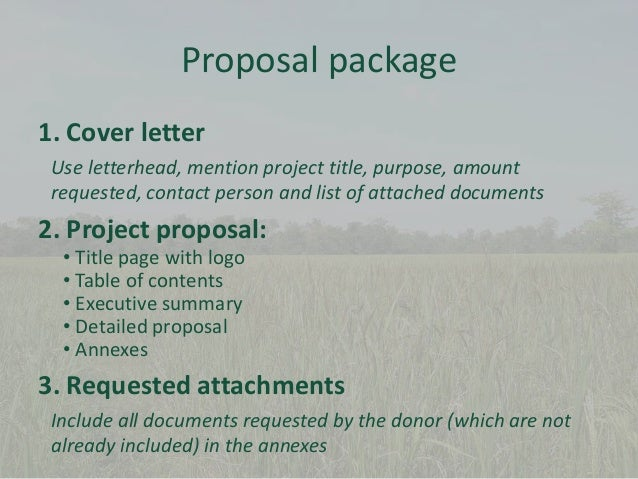 Proposal Package 1. Cover Letter Use Letterhead, Mention Project ...  Proposal Letter For Project