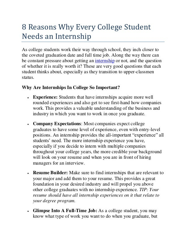 Great 8 Reasons Why Every College Student Needs An Internship As College Students  Work Their Way Through ...