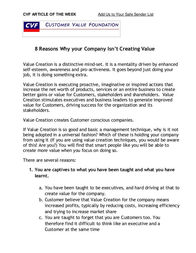 CVF ARTICLE OF THE WEEK Add Us to Your Safe Sender List  8 Reasons Why your Company Isn't Creating Value  Value Creation i...