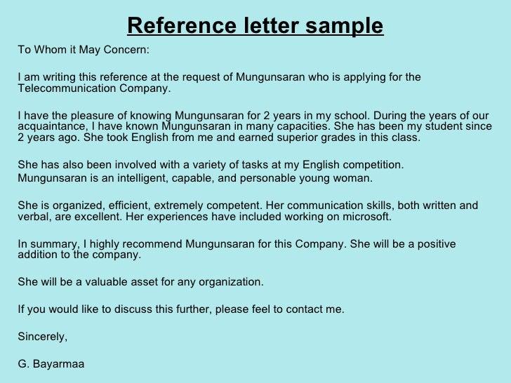 Reference Letter Sample ...