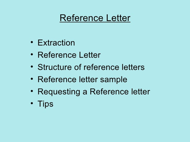 letters of refernce
