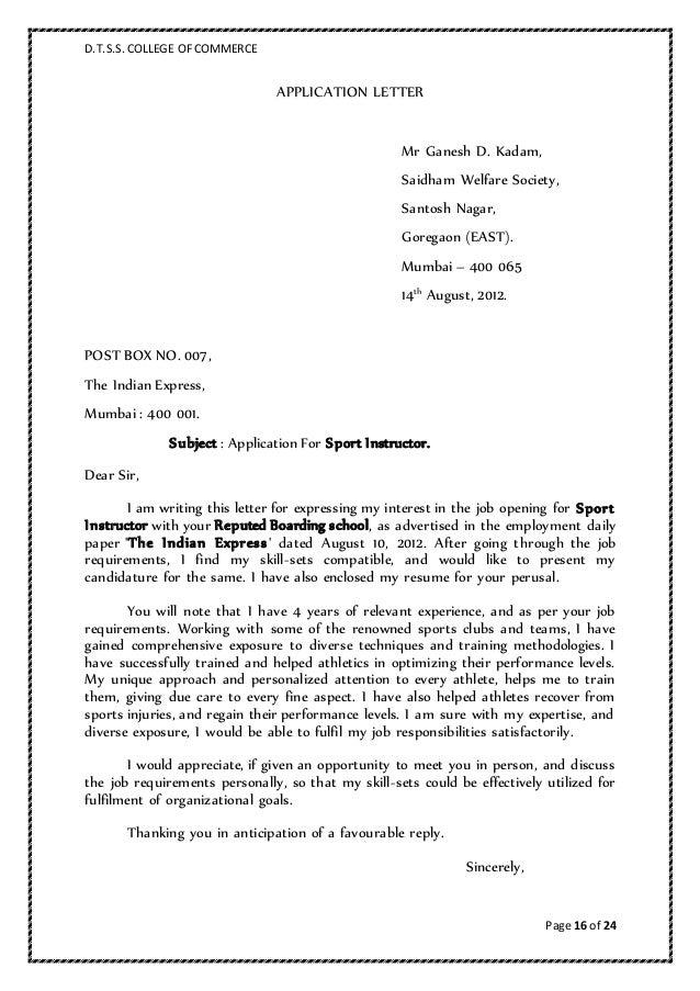Application Letter Format Marathi