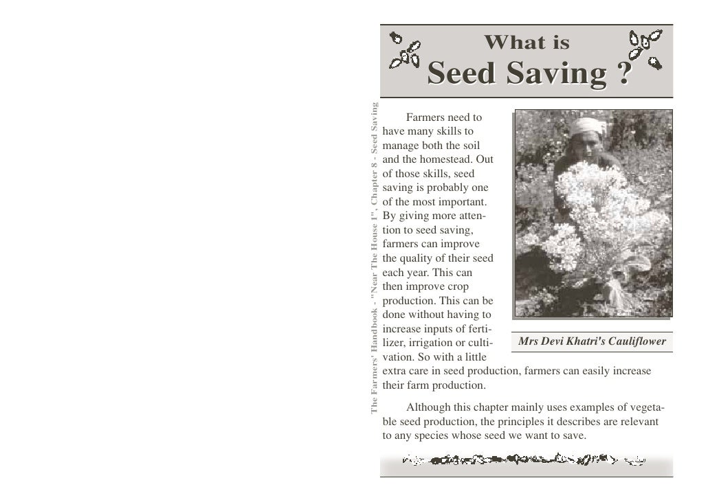 What is                                                                               Seed Saving ?The Farmers Handbook - ...