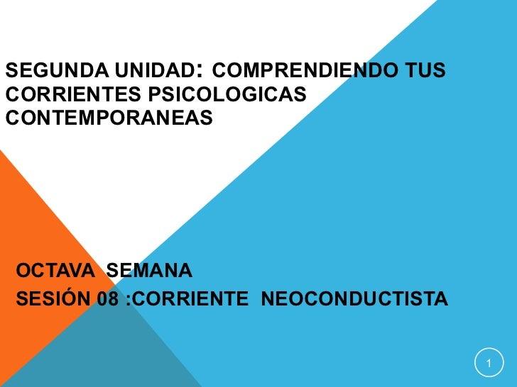 SEGUNDA UNIDAD :  COMPRENDIENDO TUS CORRIENTES PSICOLOGICAS CONTEMPORANEAS OCTAVA  SEMANA   SESIÓN 08  :CORRIENTE  NEOCOND...