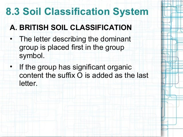 8 soil description and classification for Soil 8 letters