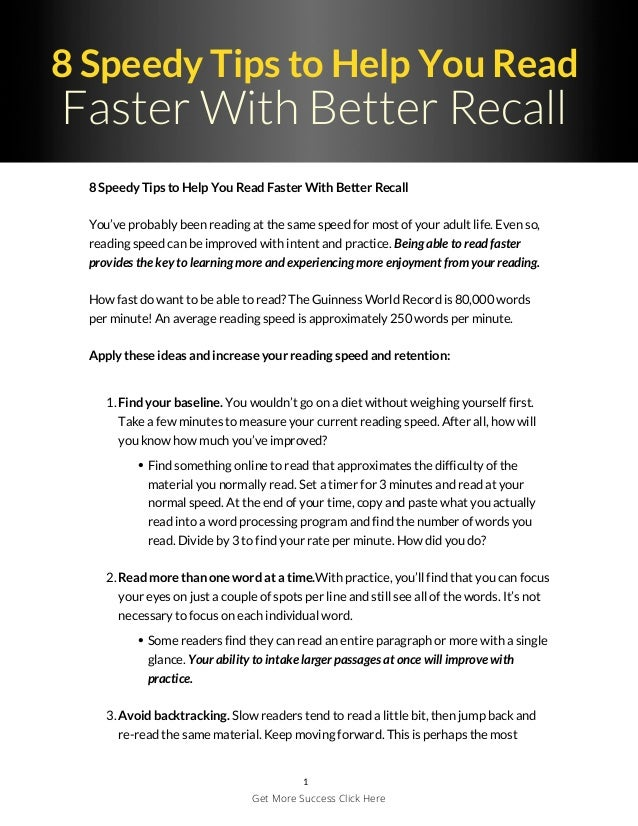 8 Speedy Tips to Help You Read Faster With Better Recall 8 Speedy Tips to Help You Read Faster With Better Recall You've p...