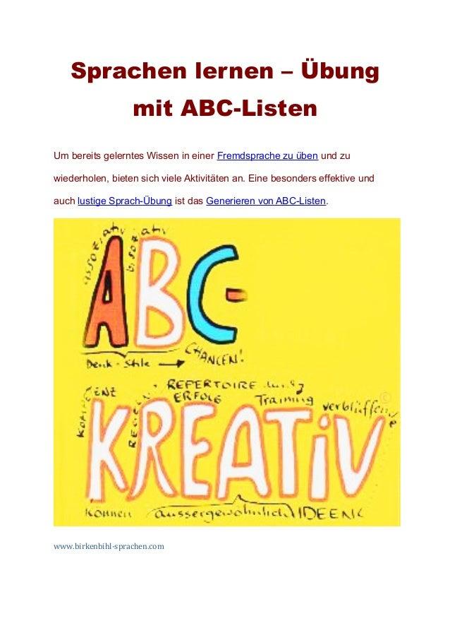 Sprachen lernen – Übung                   mit ABC-ListenUm bereits gelerntes Wissen in einer Fremdsprache zu üben und zuwi...