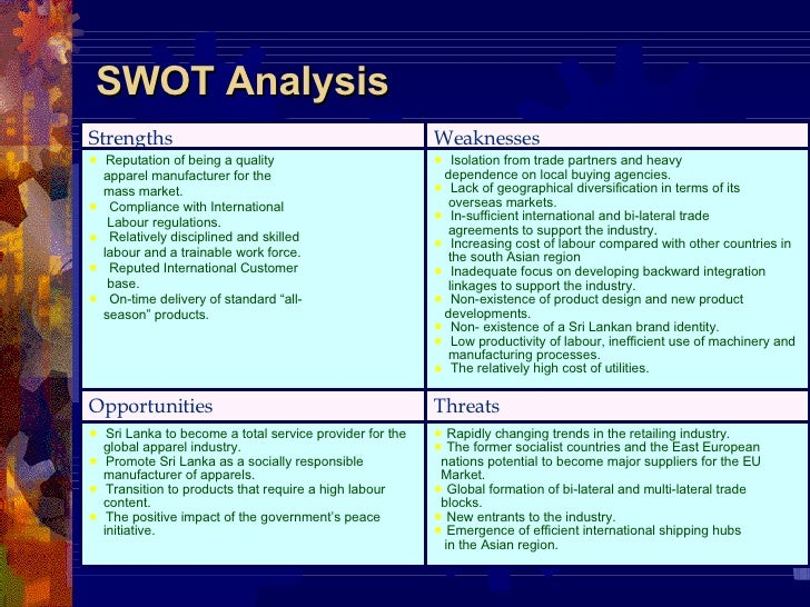 Swot analysis of garments industry