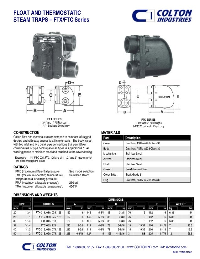 "FLOAT AND THERMOSTATIC STEAM TRAPS – FTX/FTC Series FTX SERIES 3/4"" and 1"" All Ranges 1-1/4"" 15 psi and 30 psi only FTC SE..."