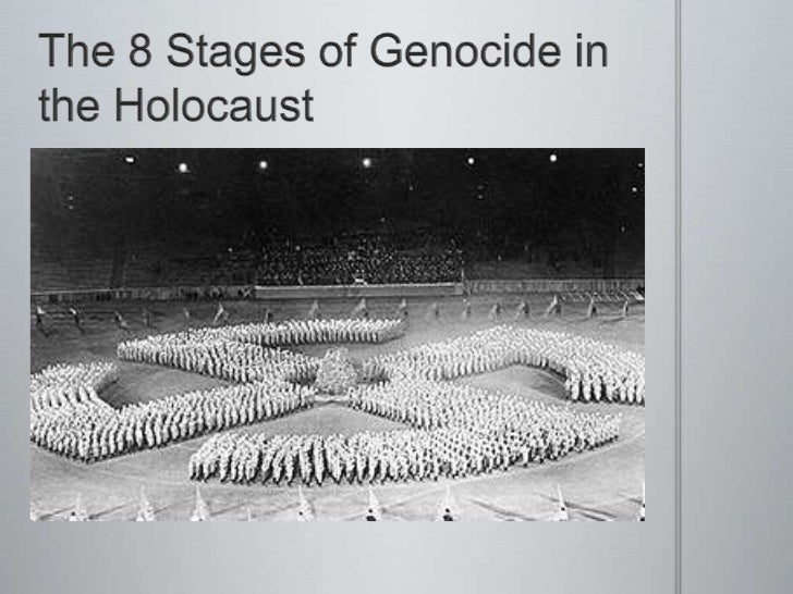 the 8 stages of genocide Eight stages of genocide gregory stanton published a paper entitled the eight stages of genocide and presented it to the us state department, the un.