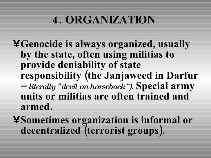 8 stages of genocide in darfur 8 stages of genocide genocide is a process that develops in eight stages that are predictable but not inexorable.