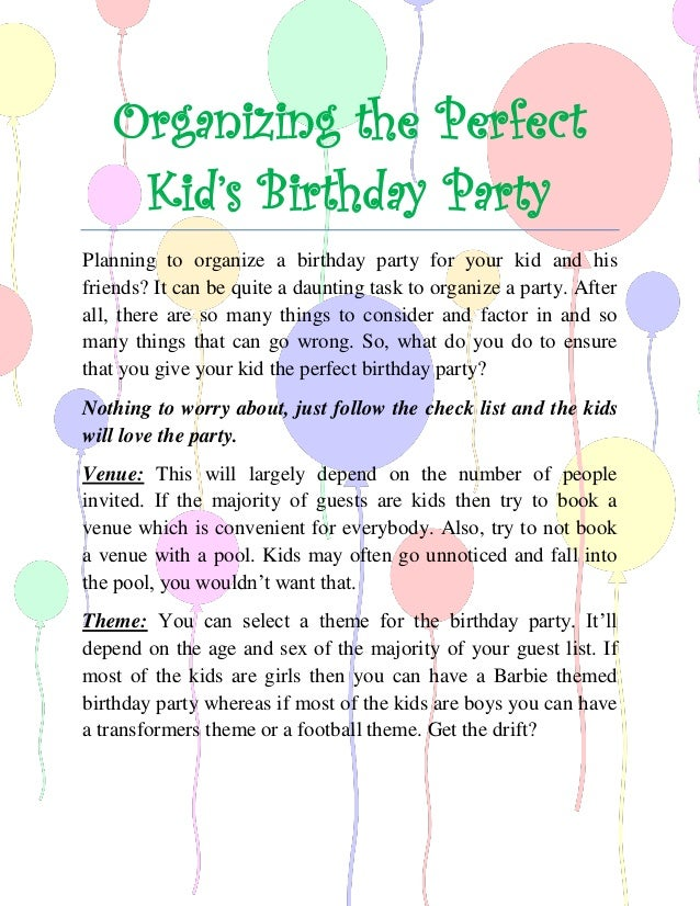 8 Steps To Arranging The Perfect Kids Birthday Party