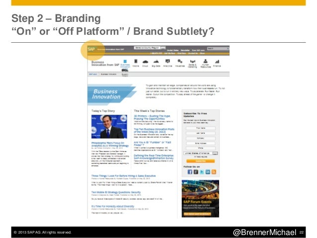 © 2013 SAP AG. All rights reserved. 25@BrennerMichaelSteps 5 – ConversionAppropriate OffersFocus on Subscriptions