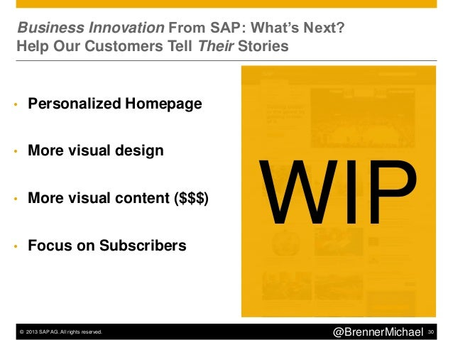 """© 2013 SAP AG. All rights reserved. 33@BrennerMichaelForbes """"BrandVoice"""": A Blogging Platform For PremiumAdvertisers"""