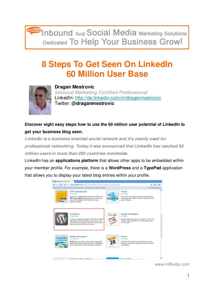 8 Steps To Get Seen On LinkedIn                60 Million User Base                  Dragan Mestrovic                  Inb...
