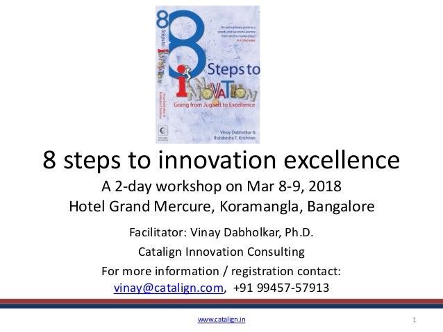 8 steps to innovation excellence A 2-day workshop on Mar 8-9, 2018 Hotel Grand Mercure, Koramangla, Bangalore Facilitator:...
