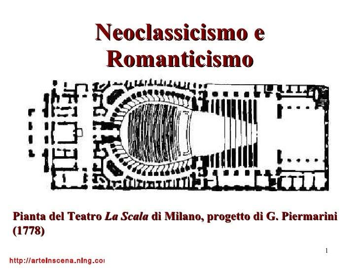 Neoclassicismo e Romanticismo Pianta del Teatro  La Scala  di Milano, progetto di G. Piermarini (1778)