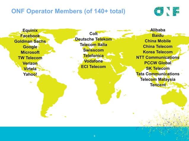 ONF Operator Members (of 140+ total) 9 Equinix Facebook Goldman Sachs Google Microsoft TW Telecom Verizon Virtela Yahoo! A...