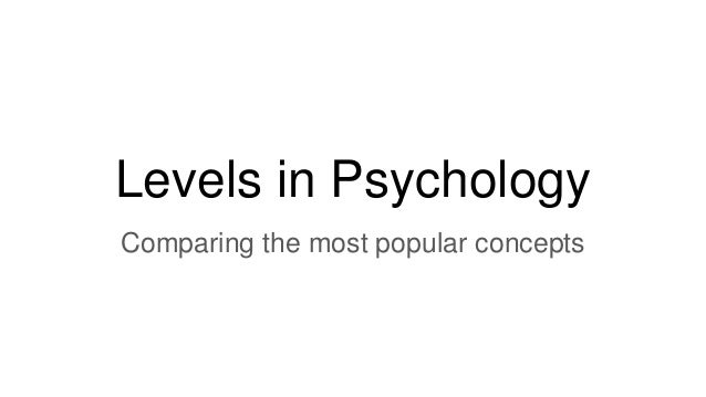 Levels in Psychology Comparing the most popular concepts