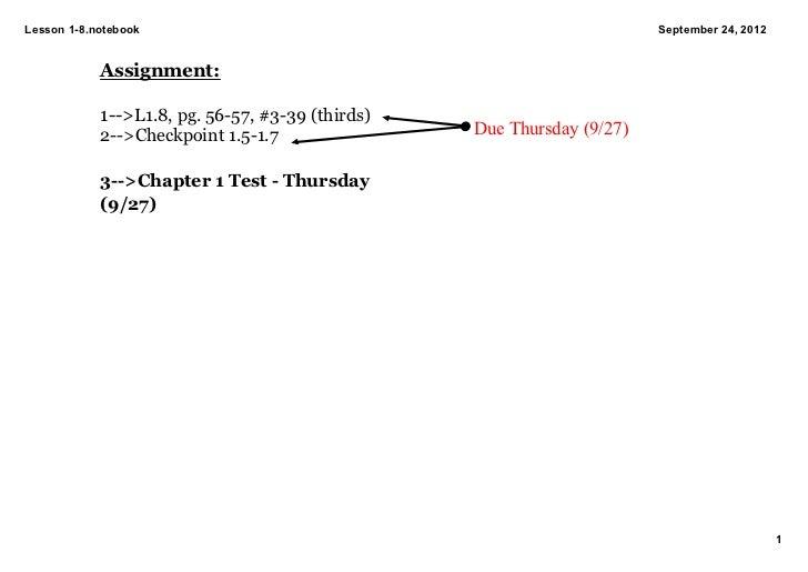 Lesson18.notebook                                                     September24,2012            Assignment:         ...