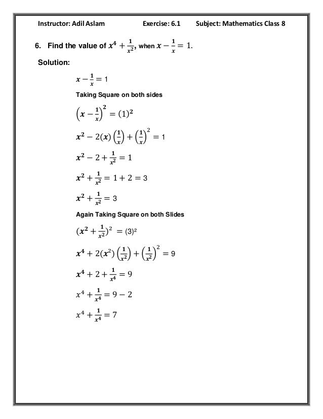 Class 8th Mathematics Exercise 6.1 Solution