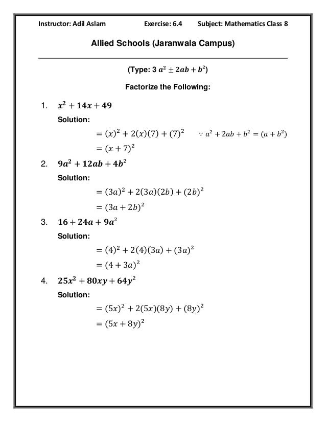Mathematics Class 8th Exercise 6 4 Solution