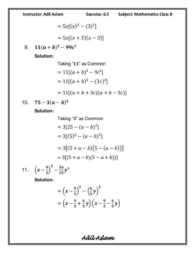 Mathematics Class 8th Exercise 6 5 Solution