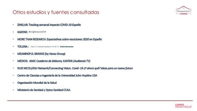 Otros estudios y fuentes consultadas • ZINKLAR: Tracking semanal Impacto COVID-19 España • KANTAR: • MORE THAN RESEARCH: E...