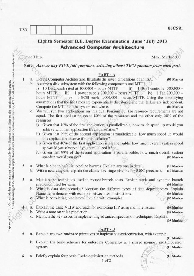 Semester Computer Science June Question Papers