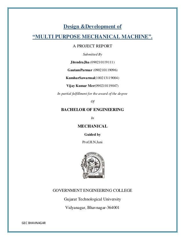 Report Of Design And Development Of Multi Purpose