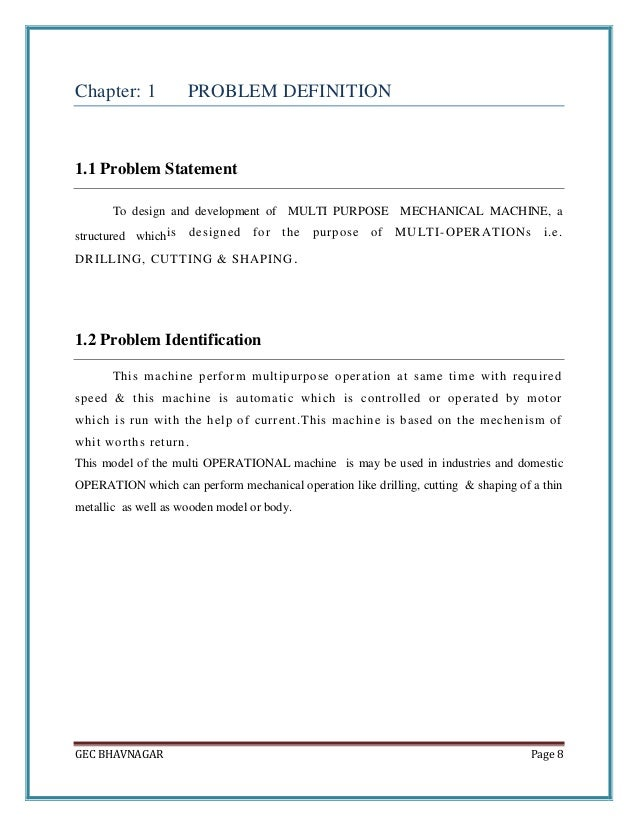 Report Of Design And Development Of Multi Purpose Mechanical Machine