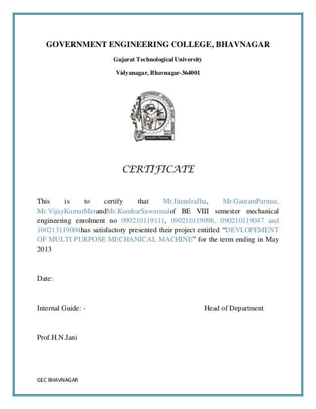 Report of design and development of multi purpose mechanical machine  Slide 2