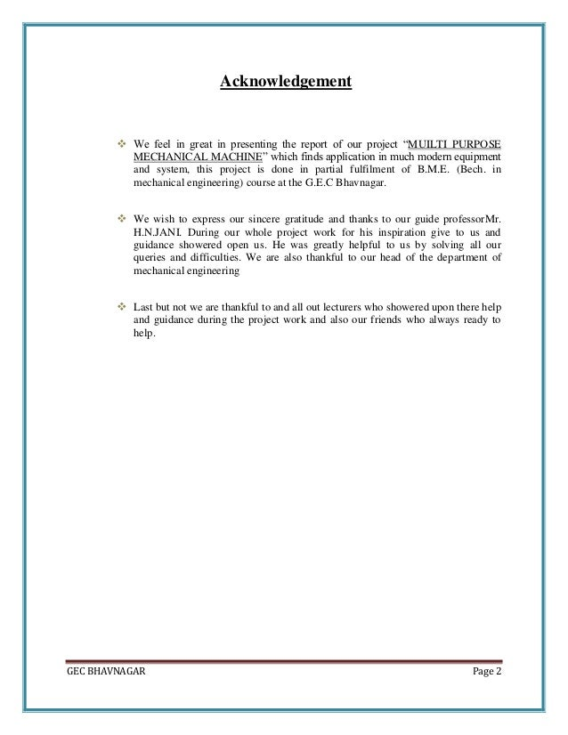 mechanical engineering design project report pdf