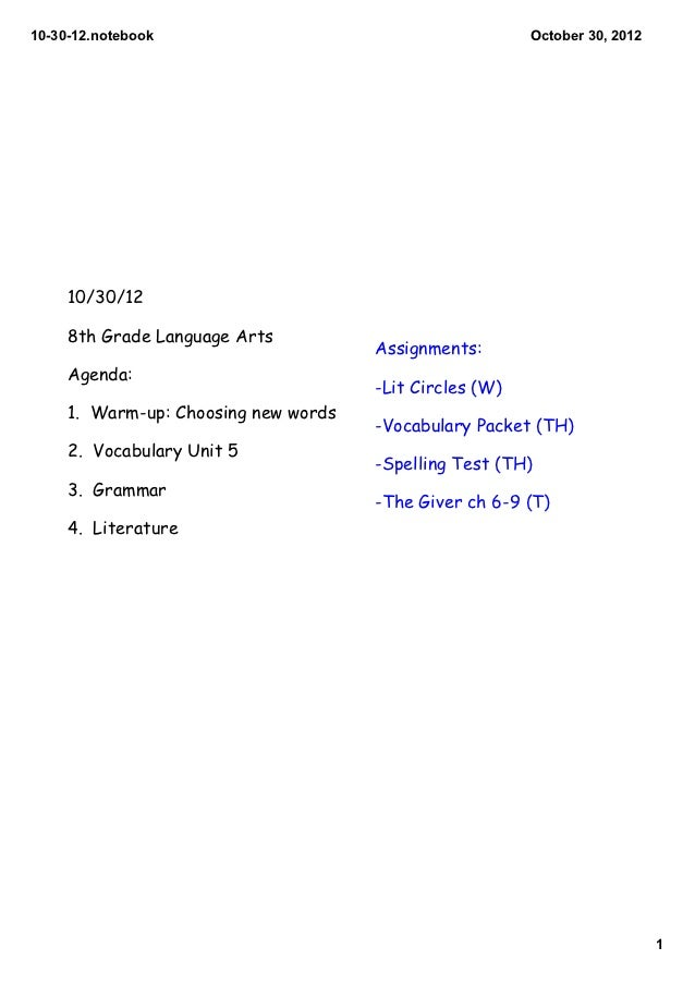 103012.notebook                                        October30,2012     10/30/12     8th Grade Language Arts        ...