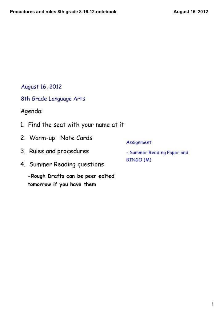 Procuduresandrules8thgrade81612.notebook                      August16,2012    August 16, 2012    8th Grade Langu...