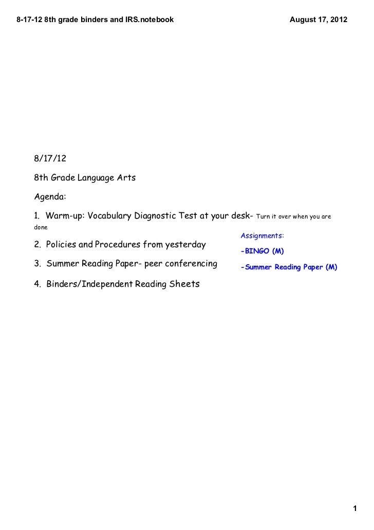 817128thgradebindersandIRS.notebook                               August17,2012    8/17/12    8th Grade Language ...