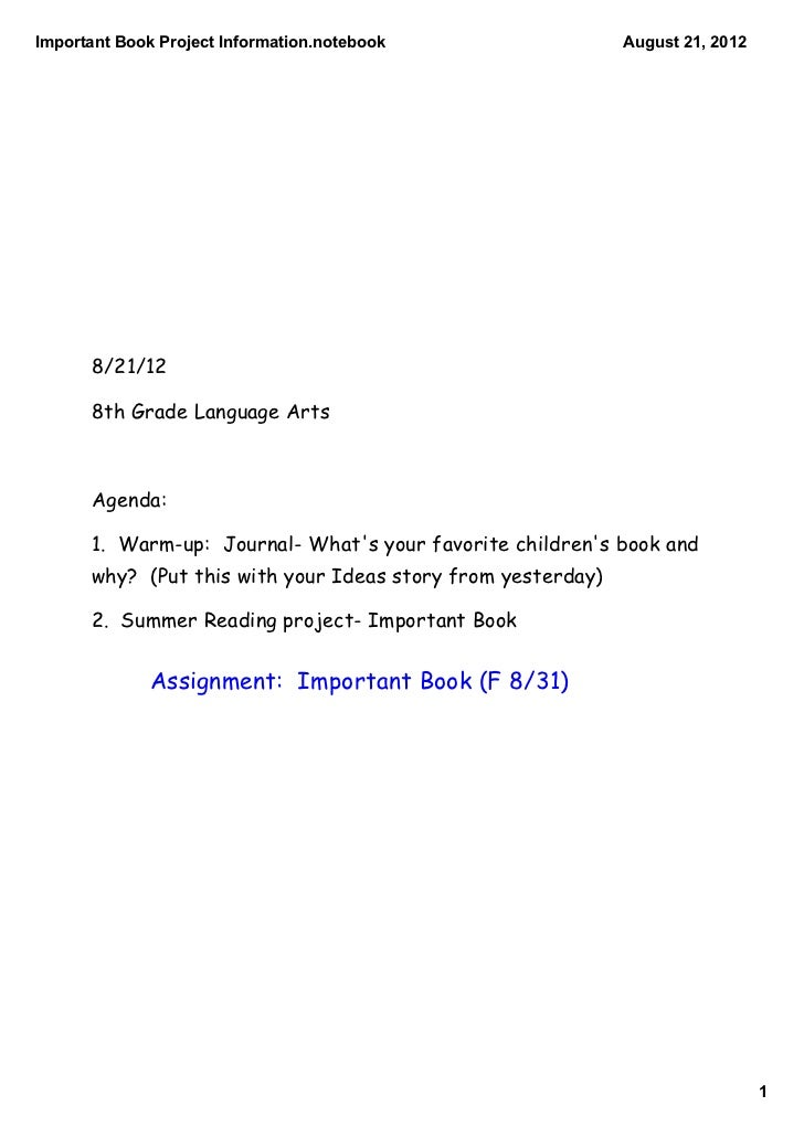 ImportantBookProjectInformation.notebook                  August21,2012      8/21/12      8th Grade Language Arts    ...