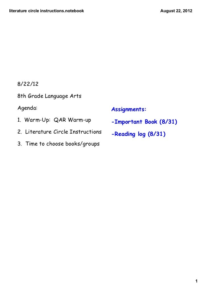 literature circle instructions.notebook                    August 22, 2012    8/22/12    8th Grade Language Arts    Agenda...