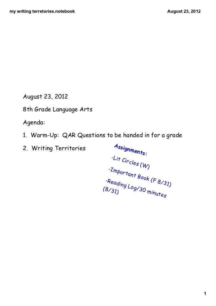 mywritingterretories.notebook                                           August23,2012      August 23, 2012      8th Gr...