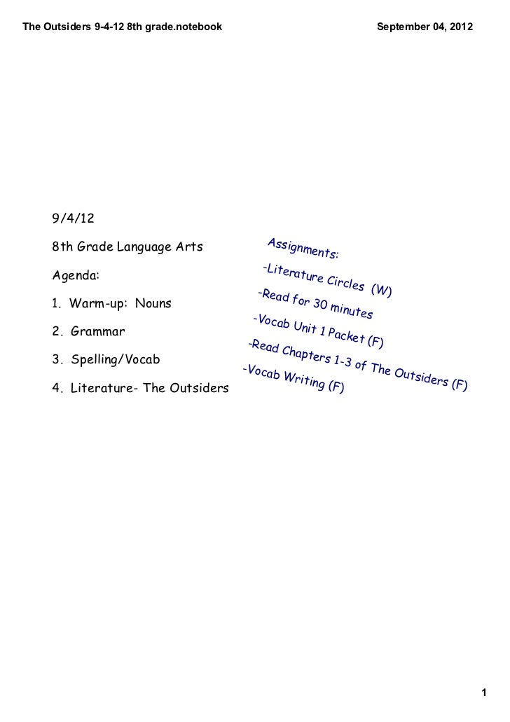 TheOutsiders94128thgrade.notebook                                      September04,2012     9/4/12     8th Grade L...