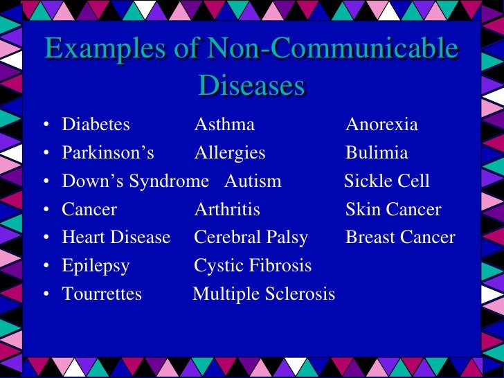 What is non communicable disease and examples.