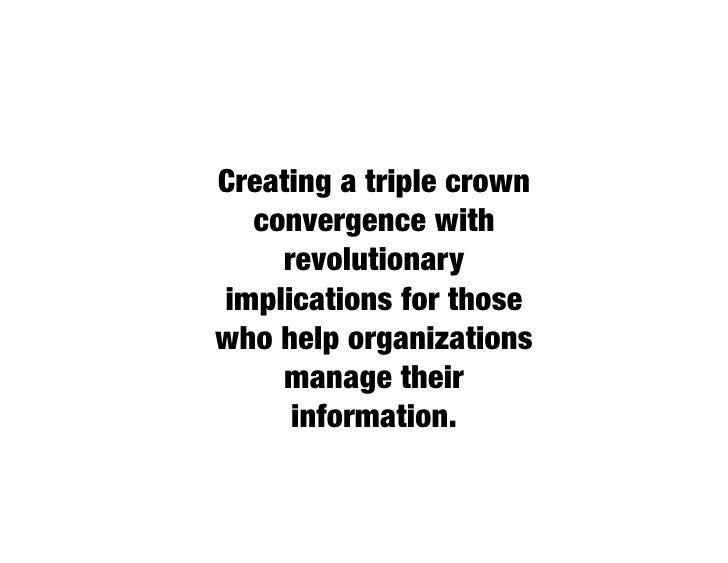 #1 -- A tidal wave of information.