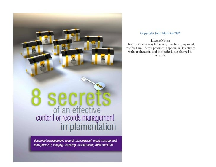 Copyright John Mancini 2009                      License Notes:  This free e-book may be copied, distributed, reposted, re...